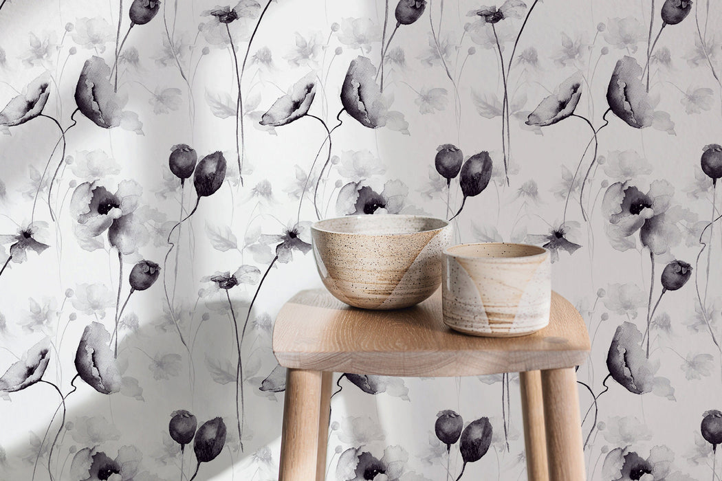 Removable Wallpaper Peel and Stick Wallpaper Wall Paper Wall Mural - Grayscale Floral Wallpaper  - A383