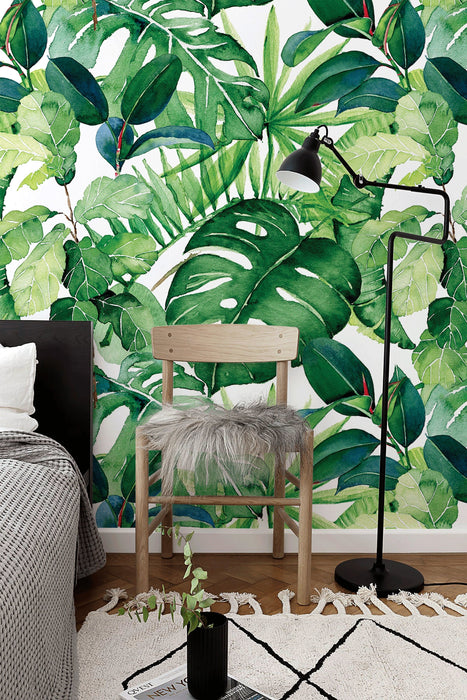 Removable Wallpaper Wall Mural  Removable Wallpaper Tropical Leaves Removable Peel and Stick Wallpaper Self Adhesive - A744