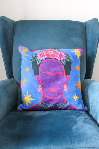 FRIDA KAHLO STARRY NIGHT EMBROIDERED VELVET CUSHION