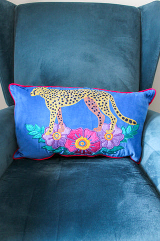 VELVET BLUE WILD LEOPARD EMBROIDERED RECTANGULAR CUSHION