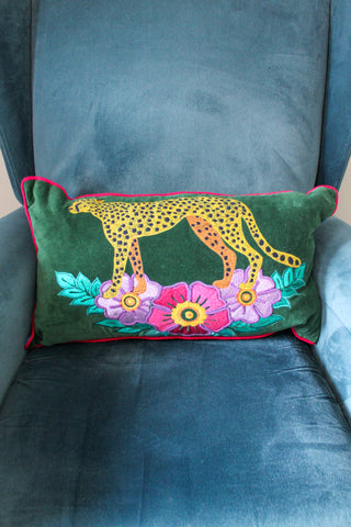VELVET EMERALD GREEN WILD LEOPARD EMBROIDERED RECTANGULAR CUSHION