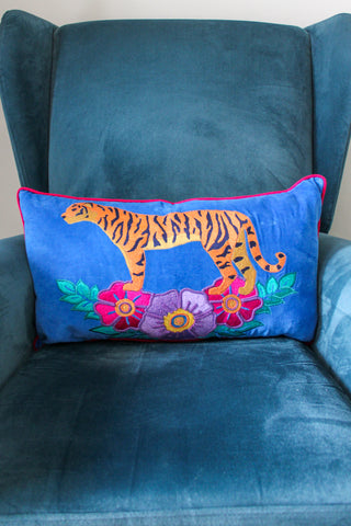 VELVET BLUE WILD TIGER EMBROIDERED RECTANGULAR CUSHION