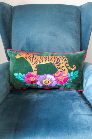 VELVET EMERALD GREEN WILD TIGER EMBROIDERED RECTANGULAR CUSHION