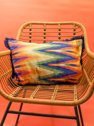 RAINBOW CHEVRON SILK CUSHION