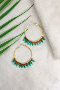 SMALL BEADED GREEN HOOP