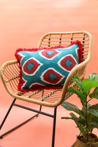 DENIM & RED SILK CUSHION