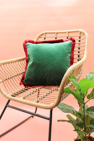 MOSS GREEN & HOT PINK CONTRAST VELVET CUSHION