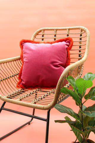 HOT PINK & ORANGE CONTRAST VELVET CUSHION