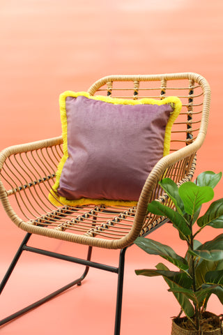 LILAC & LEMON CONTRAST VELVET CUSHION