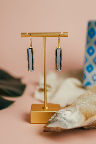 CORNFLOWER BLUE SLIM BAR EARRING