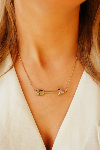 GOLD MOONSTONE ARROW NECKLACE