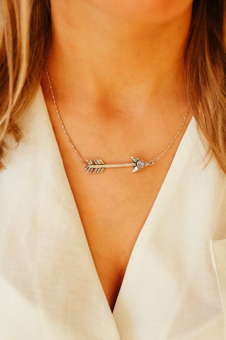 SILVER MOONSTONE ARROW NECKLACE