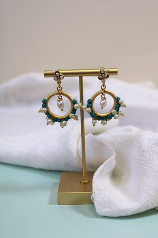 PEARL AND TURQUOISE HOOP