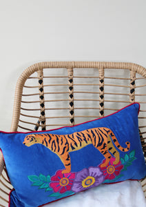 VELVET BLUE WILD TIGER EMBROIDERED RECTANGULAR CUSHION - PRE-ORDER!