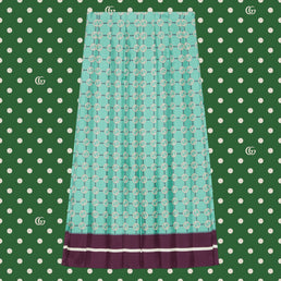 Gucci Women's Epilogue RTW Skirt Gg Network On Twill Prt Acqua/Violet/Mc (409370ZAGNA4559)