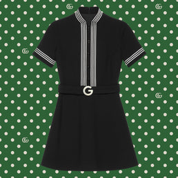Gucci Women's Epilogue RTW Dress Light Wool Vintage Crepe Black/Mix (643352ZAFGT1043)