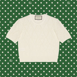 Gucci Women's Epilogue RTW S/S Cw/Nk Top Wool Ivory (650676XKBL79200)