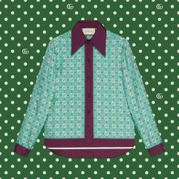 Gucci Women's Epilogue RTW Shirt Gg Network On Twill Prt Acqua/Violet/Mc (652649ZAGL34559)