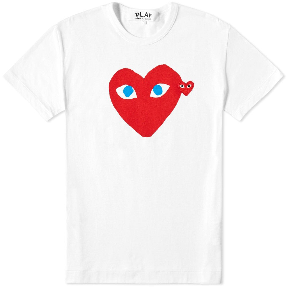 CDG Play heart face embroidered tee DS
