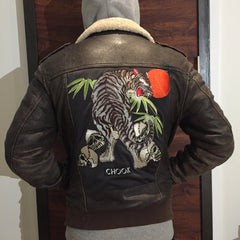 "*new* SHCCK Embroidered ""Memories"" Leather Jacket"