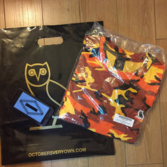 *new* OVO Owl Logo Patch Tee DSWT Large - Orange Camo