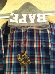 Bape Flannel Hoodie, Navy - Large DS