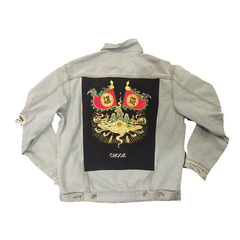 "*new* SHCCK Embroidered ""Emperor"" Denim Jacket"
