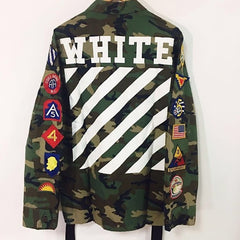 *new* Off White Green Sahariana Printed Canvas Jacket - DS