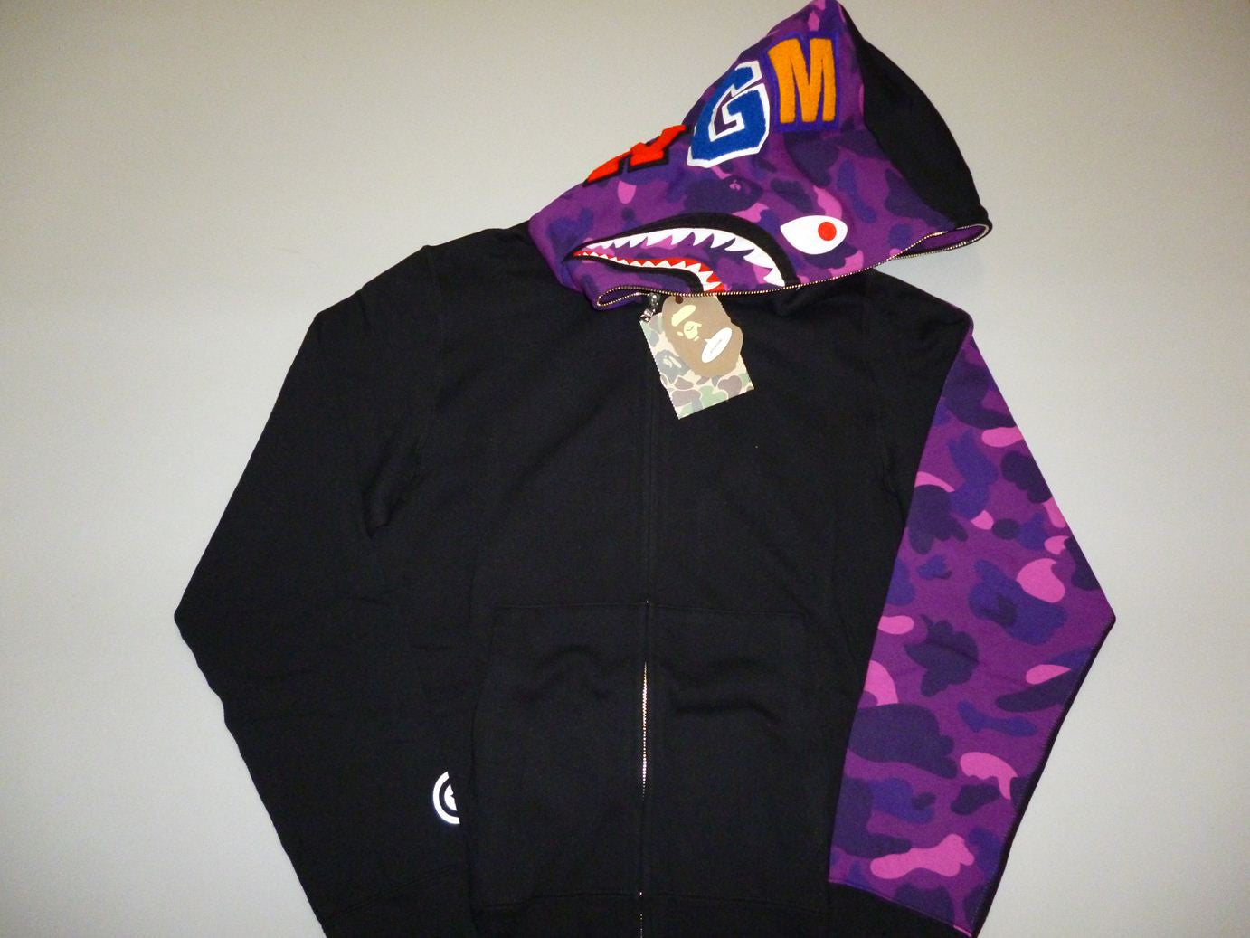 Bape Purple Camo Sleeve Shark Hoodie - DS Large