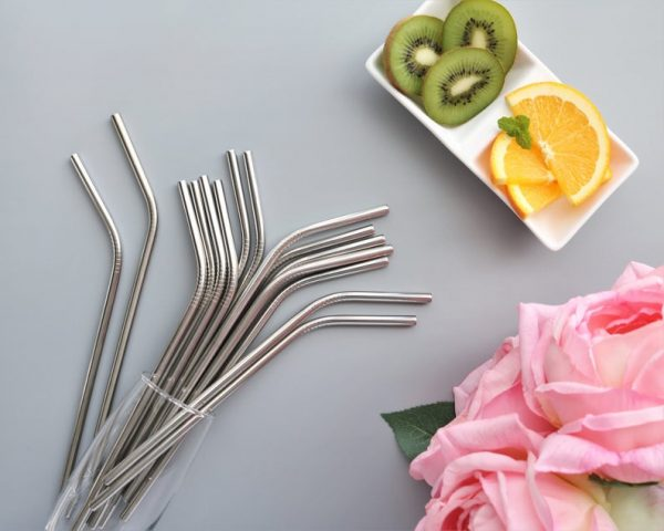 2-Piece or Singular Set Stainless Steel Straws with Cleaner