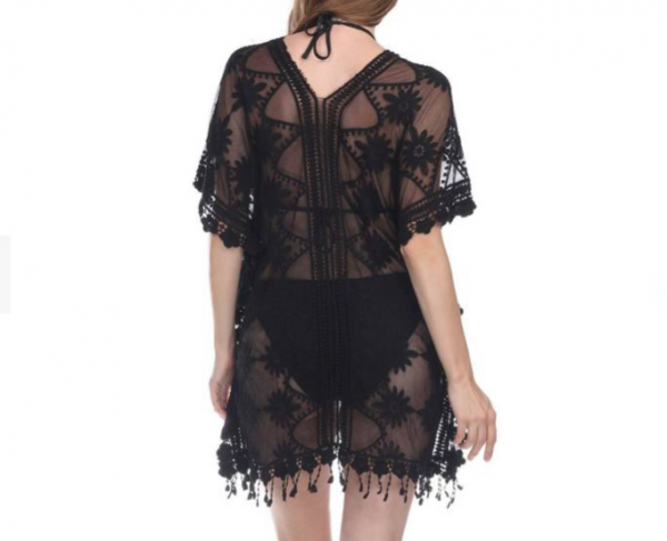 Rose Sheer Black Cover Up
