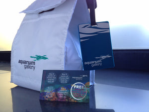 Frozen fish food in a trendy cooler bag with a promotion card
