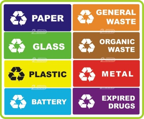 8 RECYCLE SELF ADHESIVE STICKERS FOR SELECTIVE WASTE COLLECTION