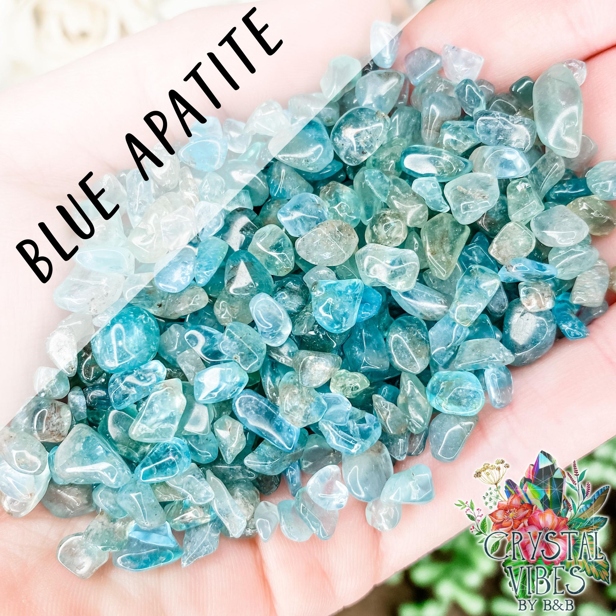 Blue Apatite Crystal Chips