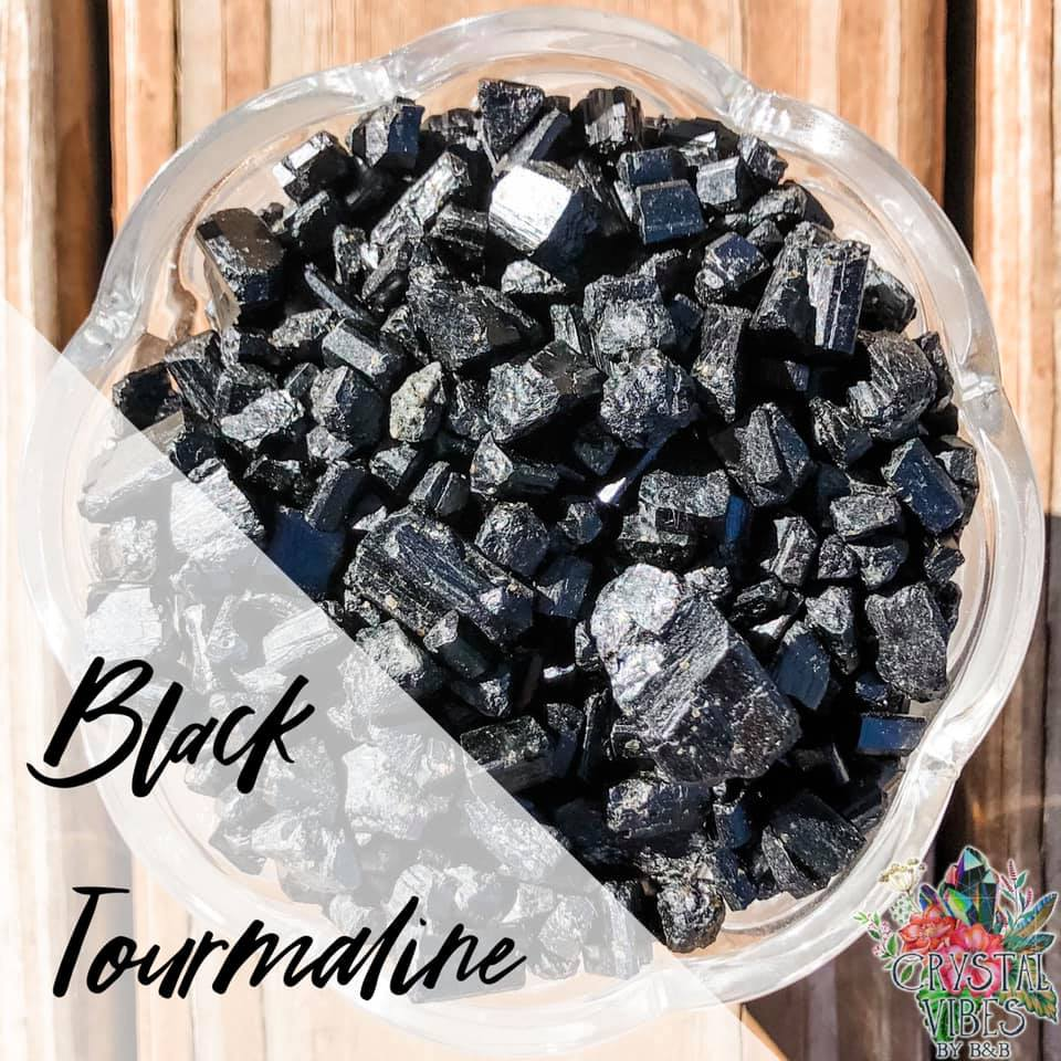 Black Tourmaline (polished) Crystal Chips