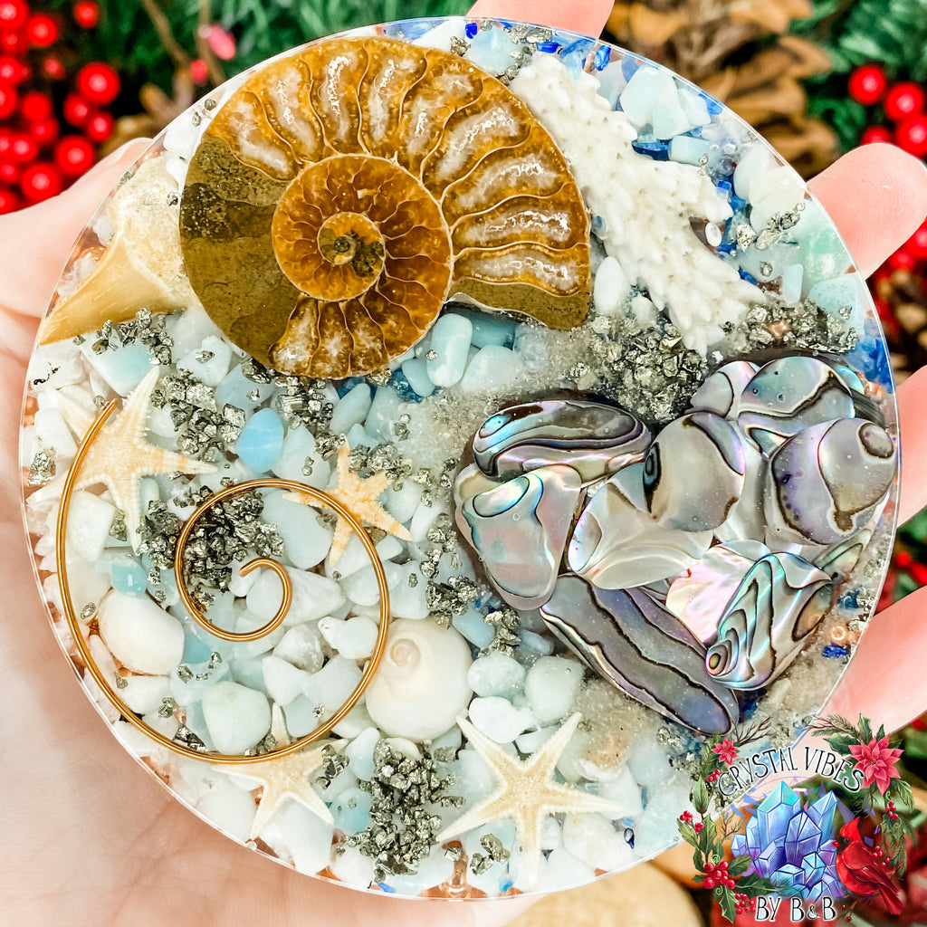 Beach Charging Plate with Abalone Love