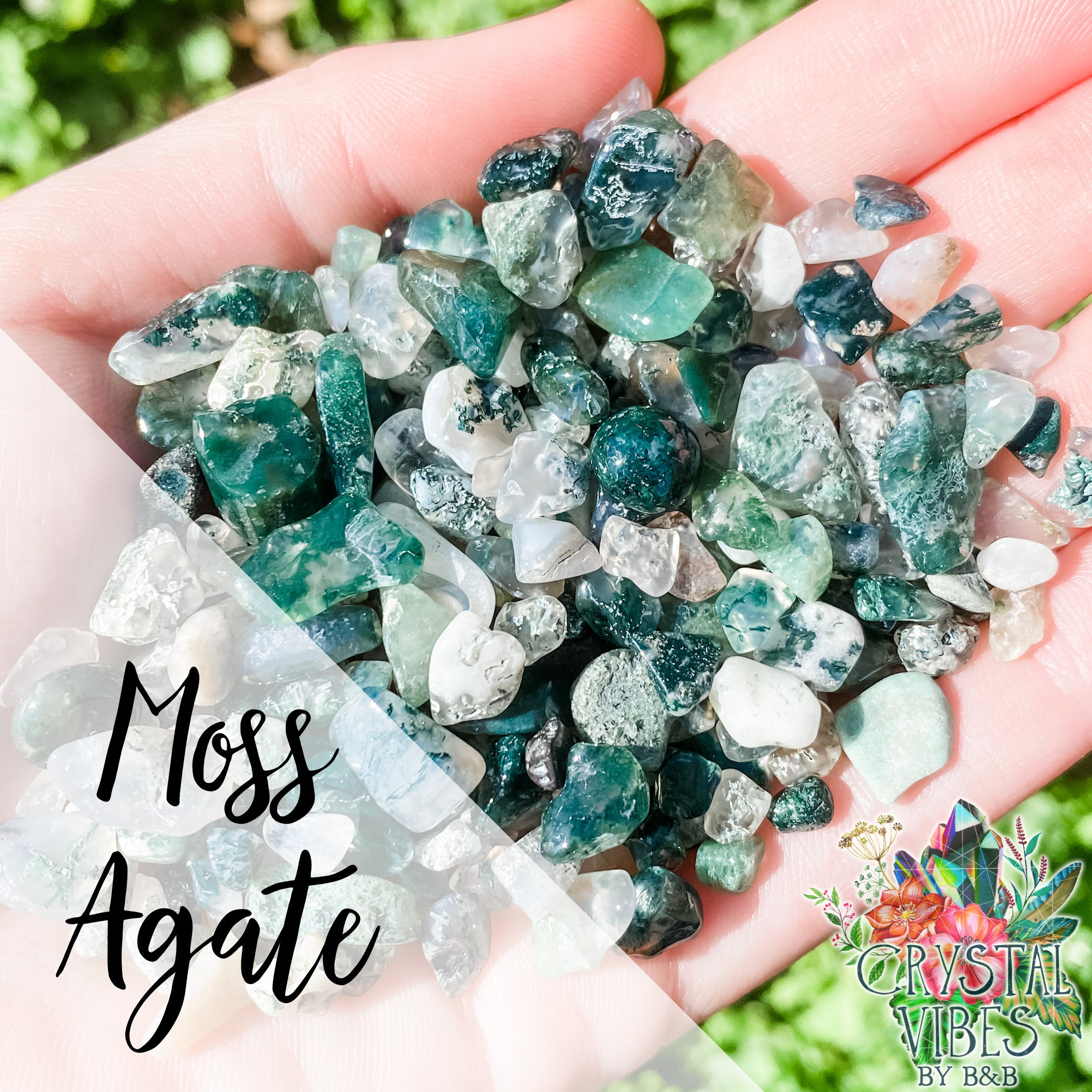 Moss Agate Crystal Chips