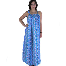 Lade das Bild in den Galerie-Viewer, Langes Damen Kleid Strandkleid Sommerkleid blau