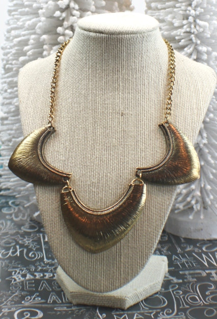 Thunderdome Statement Necklace - antique gold sm