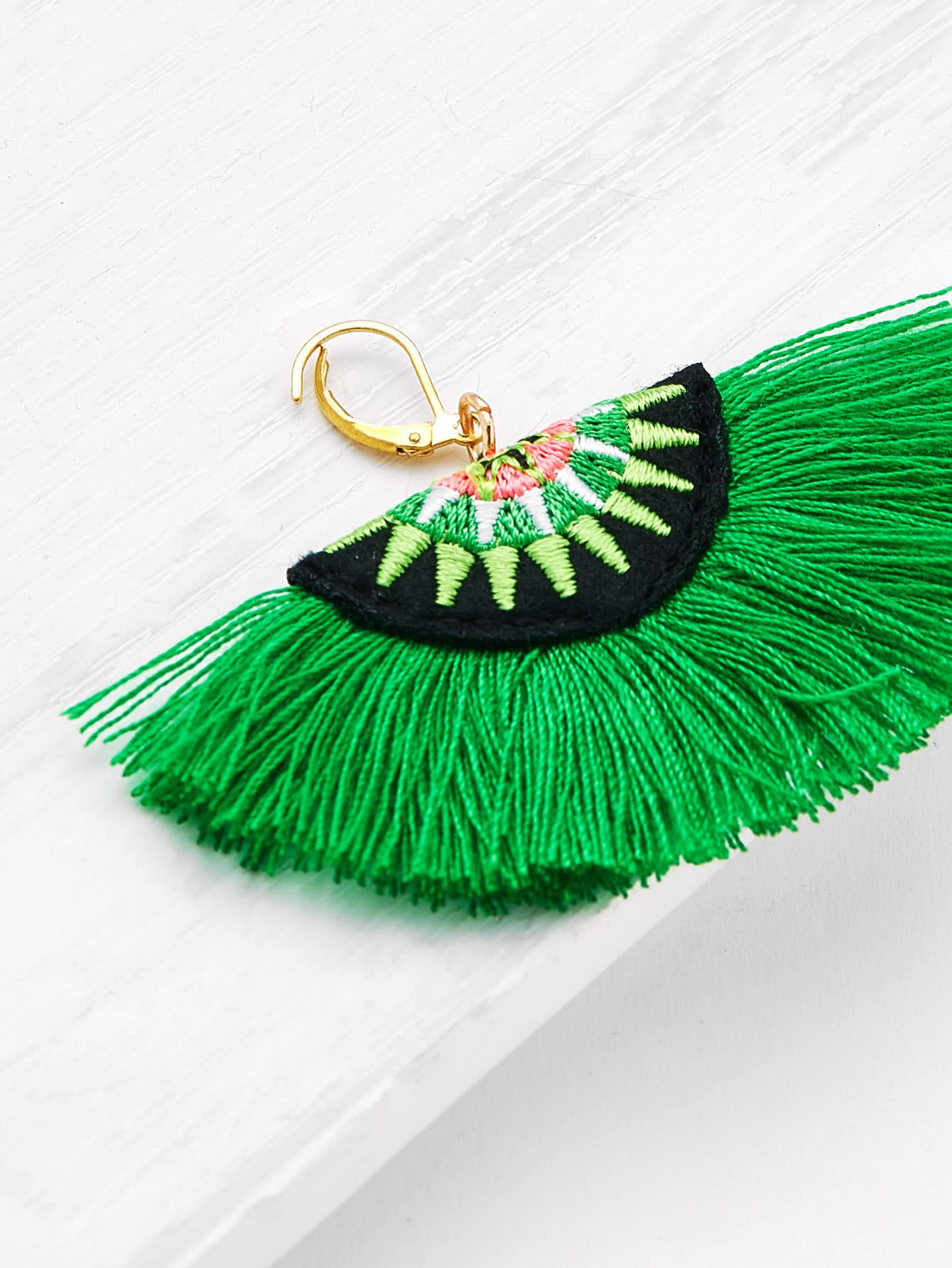 Uchiwa Embroidered Earrings - Kelly Green