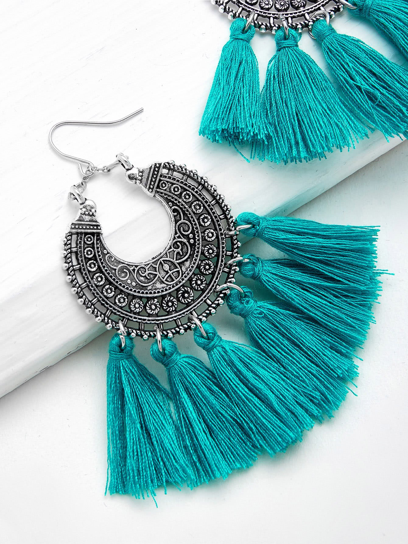 Blue Horizon Etched Earrings w/ Tassels - Silver/Teal