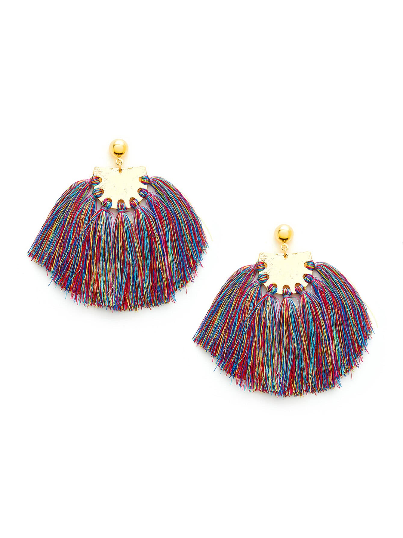 Pampas Thread Tassel Earrings - Multi-color