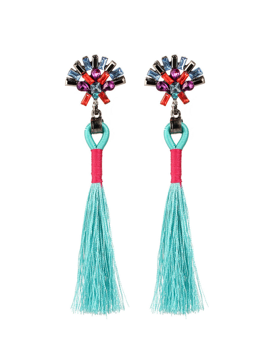 Tuareg Tassel Earrings - Teal