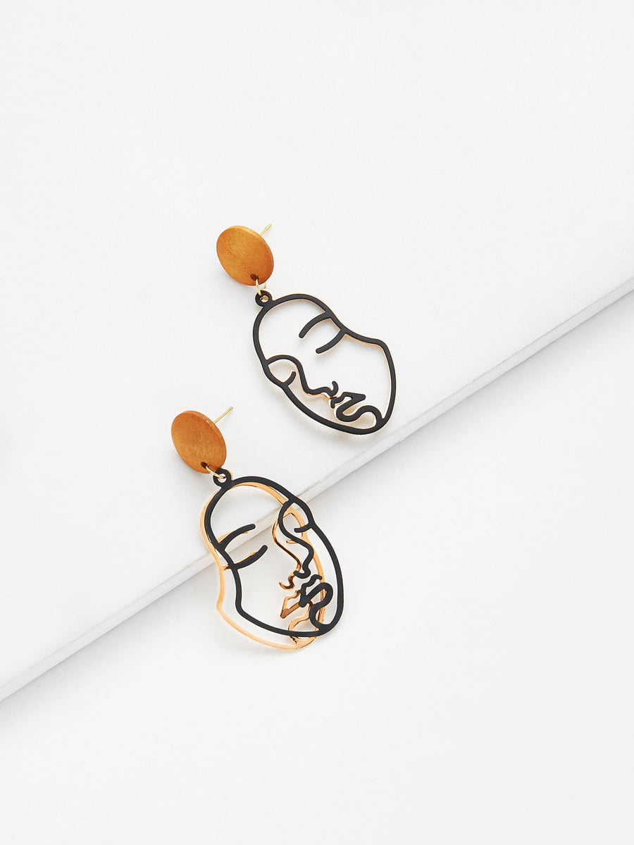 2 Face Wood & Metal Earrings