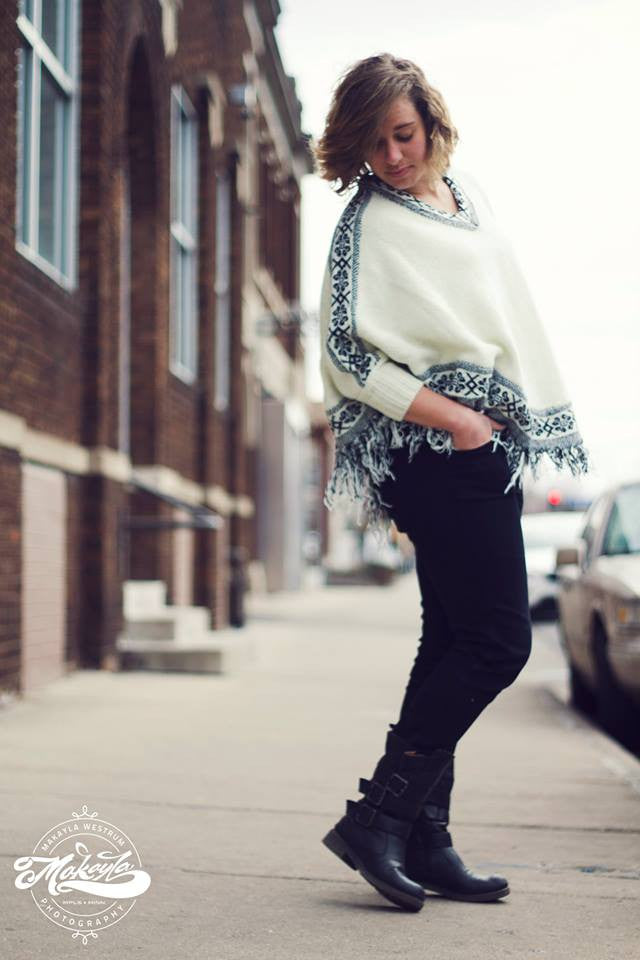 Adelle Cream Knit Poncho Sweater