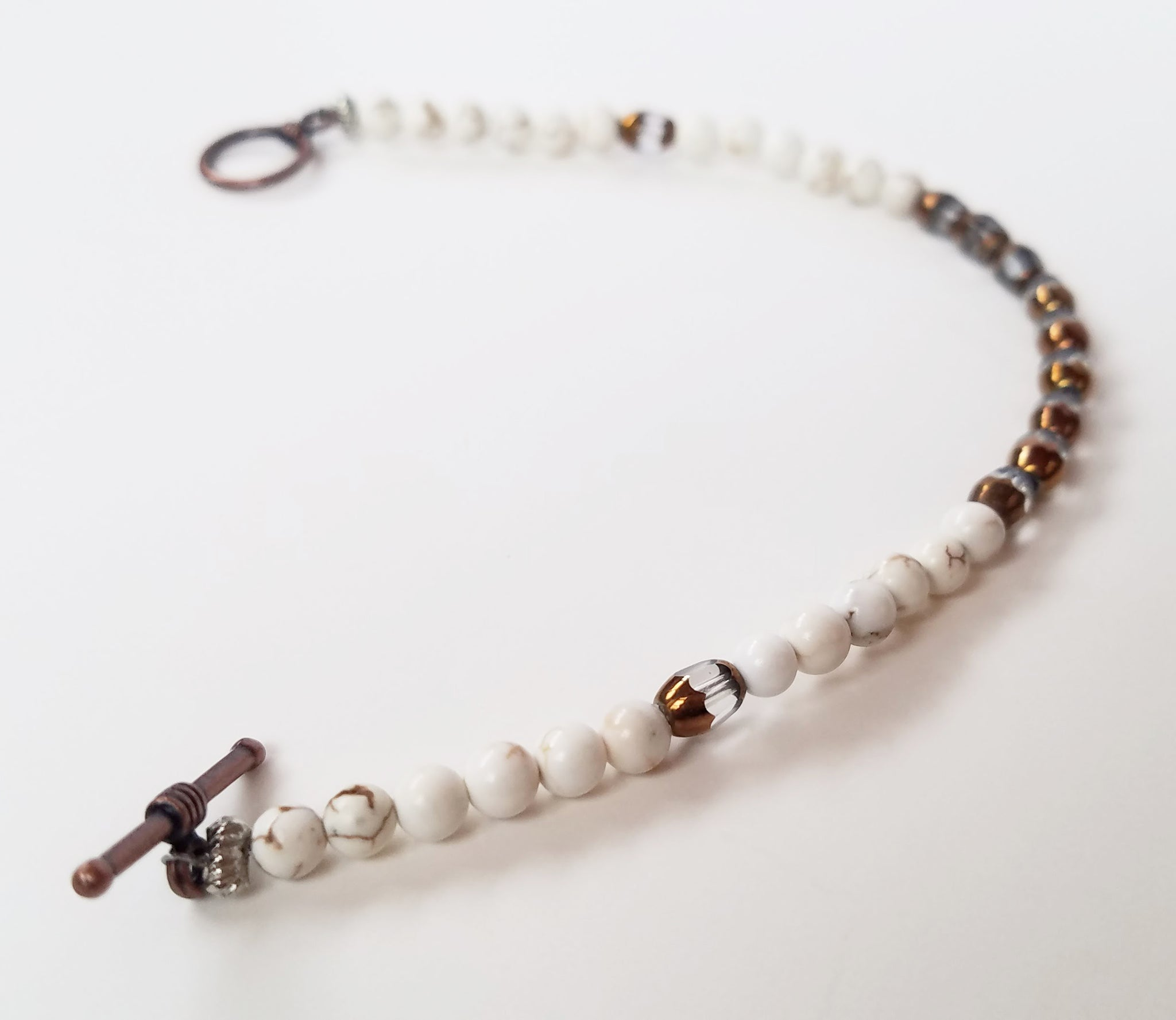 Moon Parting Ways Cream & Bronze Bracelet