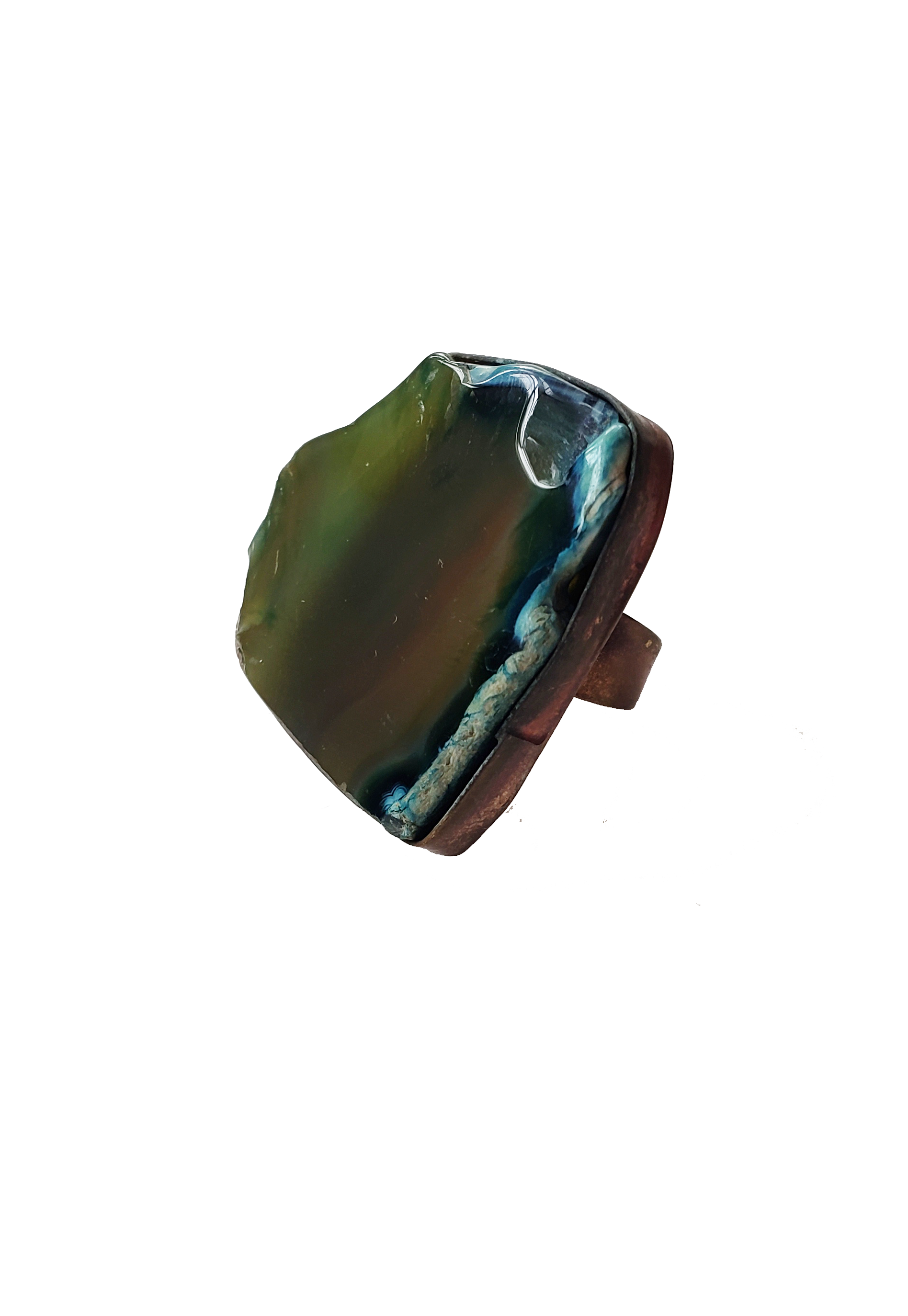 Edge of the Moon Dyed Agate Slice Ring