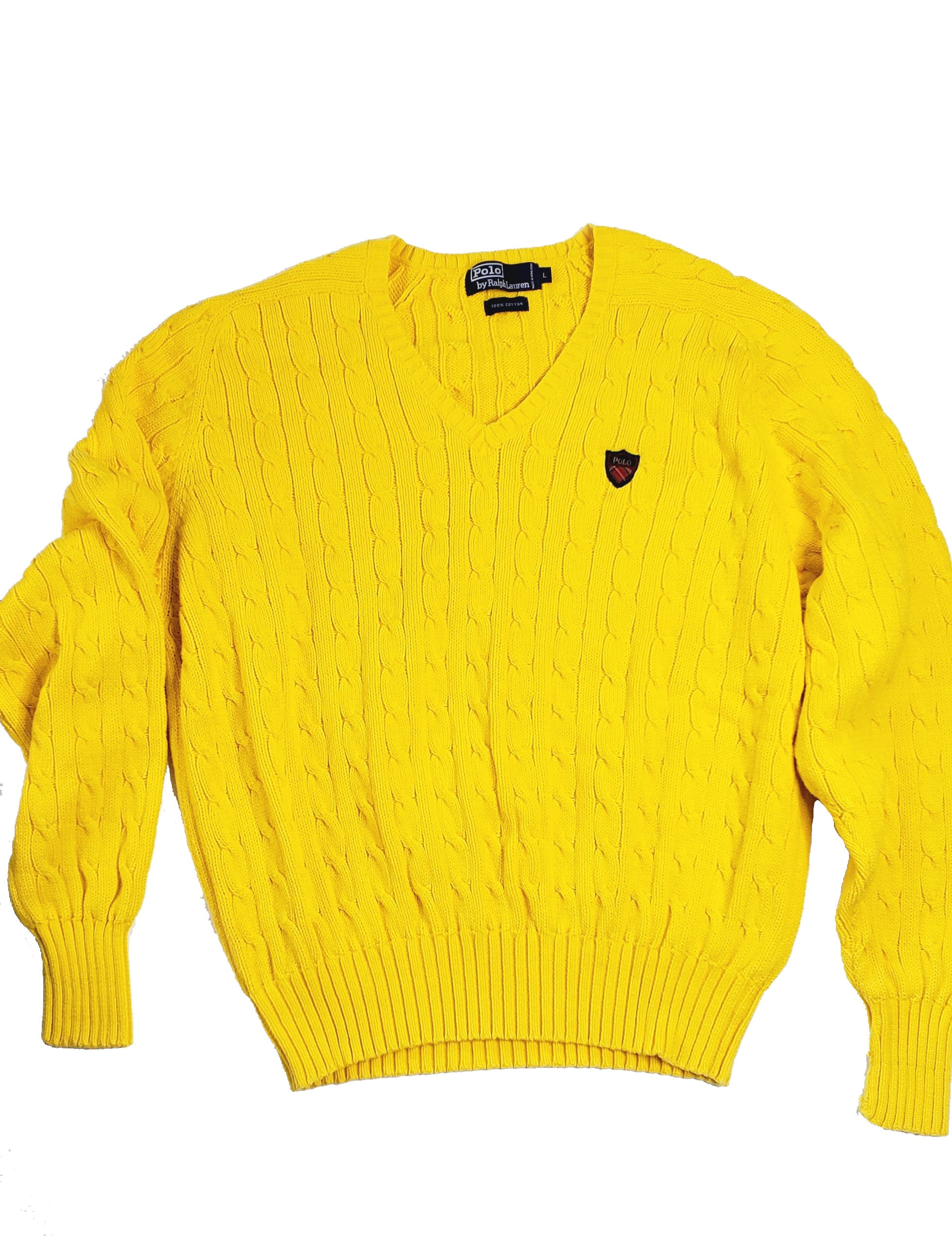 Men's Yellow Polo Cable Knit V-Neck Sweater