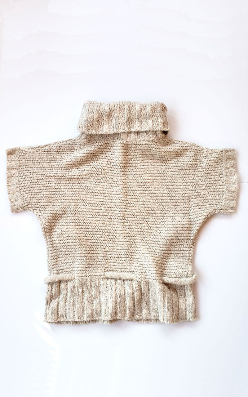 Creamy Smooth Cowel Neck Tie Waist Sweater