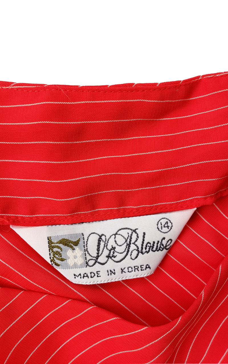 Vintage Red Pinstriped La Blouse